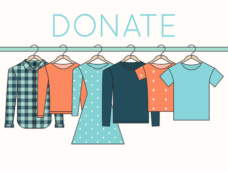 donations: Shirts, Sweatshirts and Dress on Hangers. Donate Clothes Outline Illustration Illustration