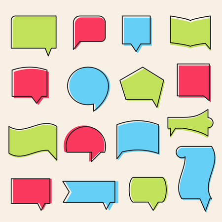 stroked: Vector Outline Communication Icons and Speech Bubbles Shapes Set Illustration