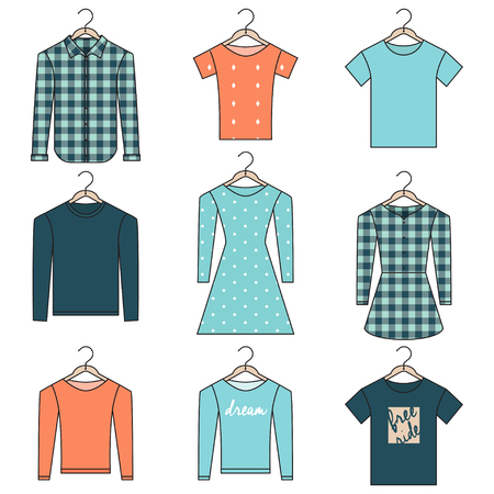 shirts on hangers: Outline Shirts, Sweatshirts and Dresses on Hangers Isolated on White Background