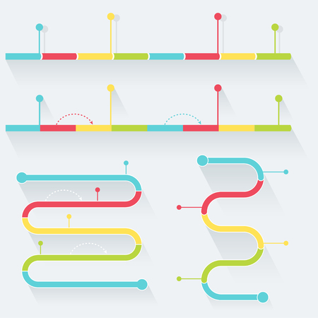timelines: Timelines Made of Blocks and Milestones. Infographics Elements. Flat Style