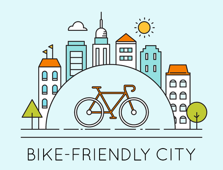 building activity: Outline Illustration of Modern City and Touring Bike. Bike-Friendly City Sign. Traveling by Bicycle Concept Illustration