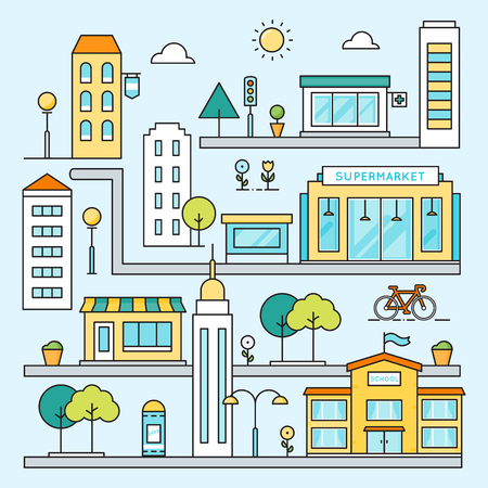 school illustration: City Map with Streets, Buildings and Places Vector Outline Colored Illustration Illustration