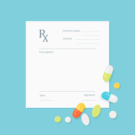 Blank Medicine Prescription Form with Pills Scattered on It. Vector EPS 10 Vectores