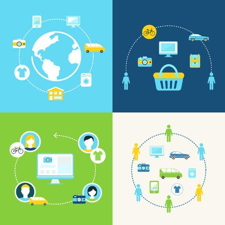 공유 경제와 협력 소비 개념 그림 일러스트