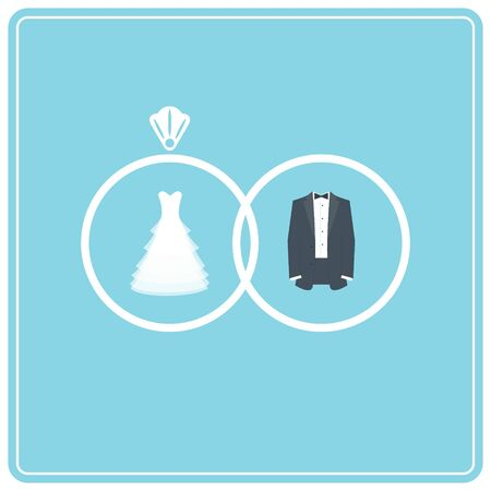 wedding dress: Wedding Dress and Suit. Two Wedding Rings Illustration