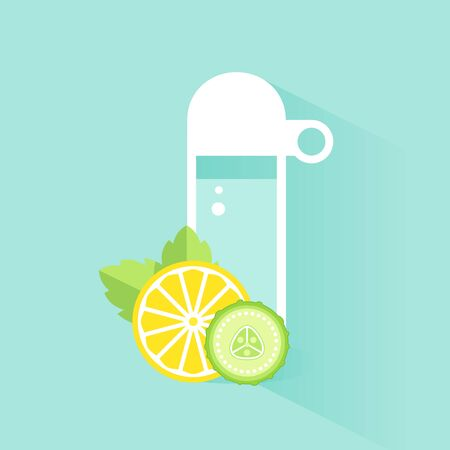 fit body: Detox Water Bottle, Slices of Lemon and Cucumber with Mint Leaves