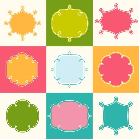 loopy: Vector Outline Loopy Frames Set for Labels, Banners, Monograms, Badges