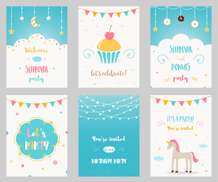 pijamada: Vector Conjunto de cumpleaños y Sleepover Kids Party Invitaciones Vectores