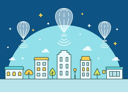 Internet Balloons Floating above the Town. Providing Internet Access Illustration Zdjęcie Seryjne - 47997764