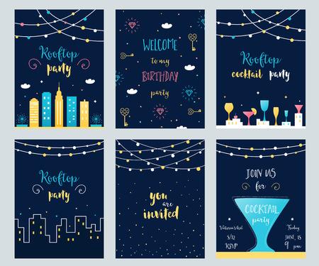 Vector conjunto de tarjetas de invitación de fiesta en la azotea, cóctel y cumpleaños con guirnaldas de luz Ilustración de vector