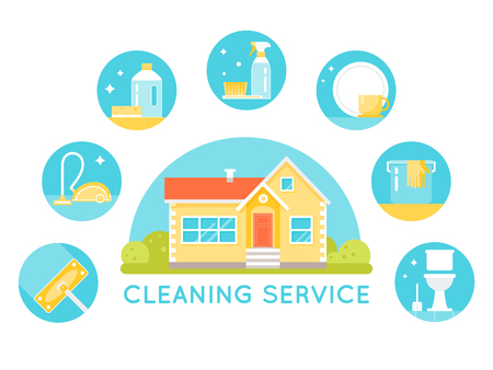 agents: House Surrounded by Cleaning Services Images. Household Cleaning Agents and Tools Round Icons. Illustration
