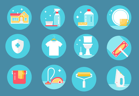 janitorial: Home Cleaning Service, Agents and Tools Round Icons Set. Flat Design