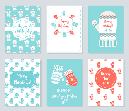 Christmas and New Year Greeting Cards Set. Knitted Mittens Theme and Patterns Vector Illustration. Illustration