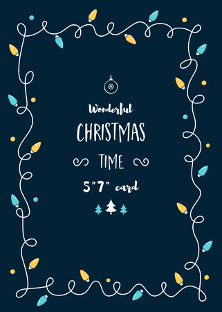 invitation cards: Christmas Card Vector Template with Vintage Lights Garland and Space for Text