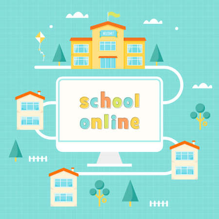 school computer: Computer, School Building and Houses. Online Learning Vector Illustration