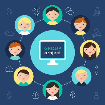 webcast: Computer and Children Faces. Group Project Flat Vector Illustration