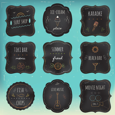 surf shop: Summer Recreation Activities and Places Chalkboard Labels and Tags Set