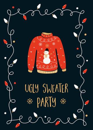 sueter: Plantilla de la tarjeta de invitación de la fiesta de Navidad del suéter feo Vectores