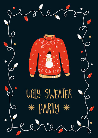 lights: Ugly Sweater Christmas Party Invitation Card Template