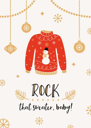 미운 스웨터 크리스마스 파티 초대 카드 템플릿