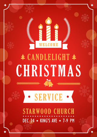 candlelight: Christmas Candlelight Service Church Invitation Vector Template Illustration