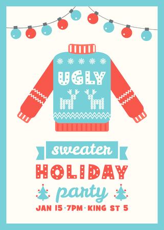 sueter: Plantilla de la tarjeta de la invitación del suéter de la celebración de días fea