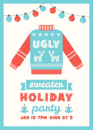 Ugly Sweater Holiday Party Invitation Card Template 矢量图像