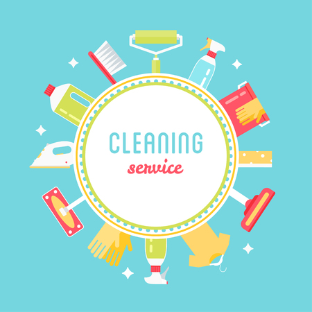 Cleaning Service Sign, Tools and Chemicals Round Vector Background