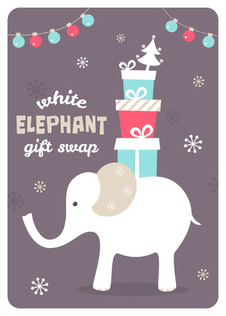 White Elephant Carrying Gifts. Presents Exchange Vector Illustration