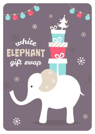 White Elephant cadeaux Porter. Présente Échange Illustration Vecteur