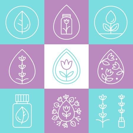 medicina natural: Aceites Esenciales Esquema plana Iconos o insignias Set