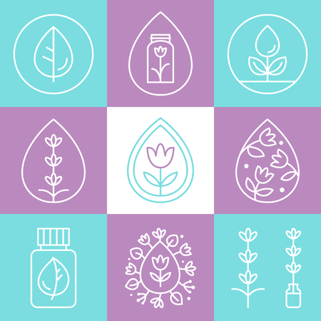 Essential Oils Flat Outline Icons or Logos Set
