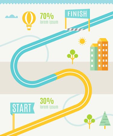 city road: Road or Track Map Infographics Vector Template