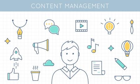 Uomo circondato da Media Icons. Content Management e Marketing illustrazione vettoriale