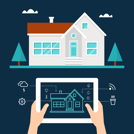 syndication: Smart Home Technology and Tab Application Vector Illustration Illustration