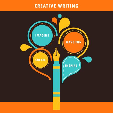 Education and Creative Writing Infographics. Colourful Vector Template Vector Illustration