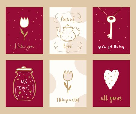 love notes: Valentine Cards and Love Notes Hand Drawn Vector Set