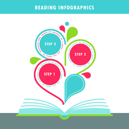 literate: Open Book and Reading Infographics Vector Elements