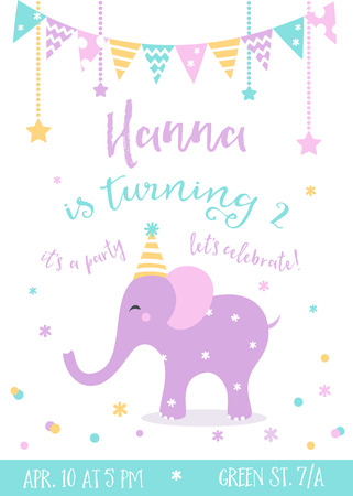 lets party: Kids Birthday Party Vector Invitation with Garlands and Baby Elephant Illustration