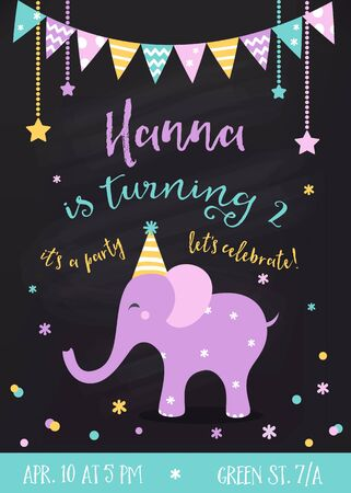 theme: Kids Birthday Party  Invitation with Garlands and Baby Elephant on Chalkboard Background