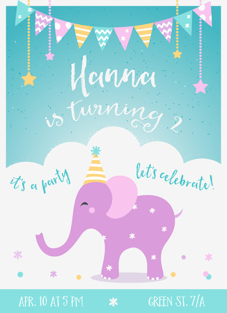lets party: Kids Birthday Party  Invitation with Garlands and Baby Elephant