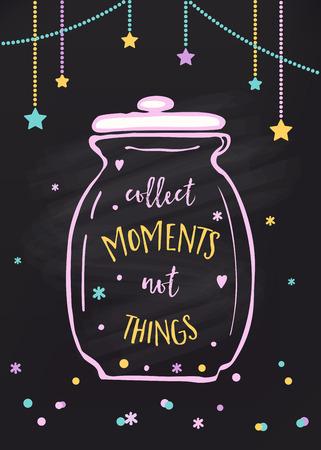 Recoger momentos no cosas. Tarro de cristal y las letras de sesión. Ilustración de vector