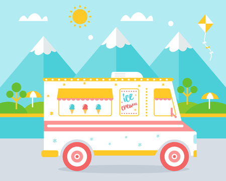childen: Ice Cream Truck agains Beach and Mountains Landscape