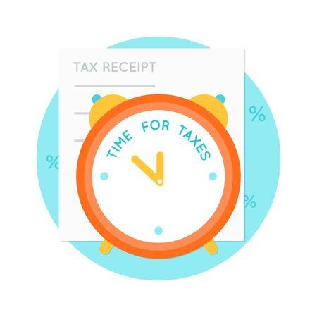receipt: Alarm Clock and Tax Receipt Vector Illustration