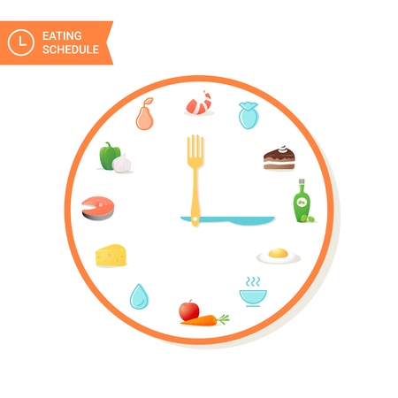 eating habits: Food and Clock. Eating Schedule Vector Infographics Elements Illustration