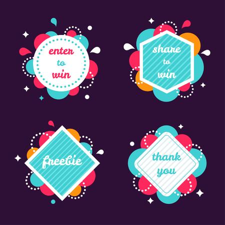 Kolorowe banery internetowe Ustaw. Enter, aby wygrać, Udostępnij, aby wygrać, Freebie, dziękuję Vector Banners.