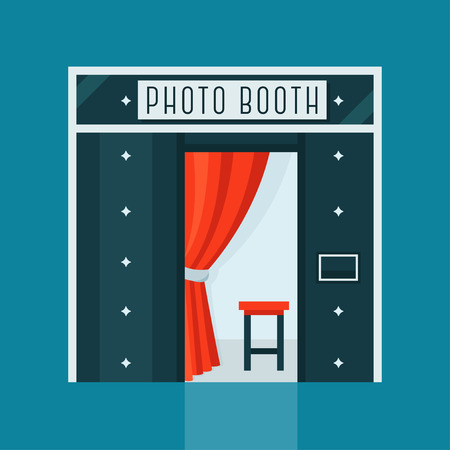 Vintage Machine met rood gordijn en voorzitter Photo Booth Stock Illustratie