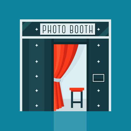 Vintage Photo Booth-Maschine mit Roter Vorhang und Stuhl