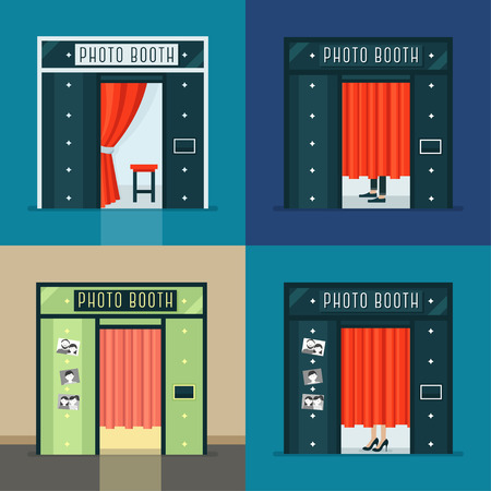 lady in red: Vintage Photo Booth and Curtains. Photography Machine Vector Set Illustration