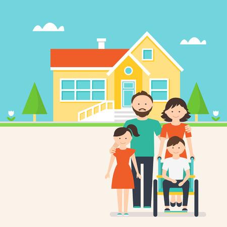 특별와 가족과 어린이를위한 액세스 주택 그림을 필요로